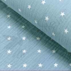 Double Gauze - Small Stars - Light Blue