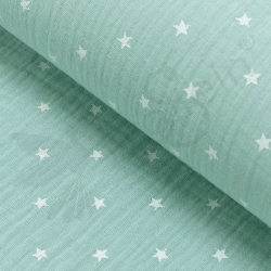 Double Gauze - Small Stars - Mint