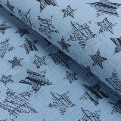Double Gauze - Scribble Stars - Light Blue