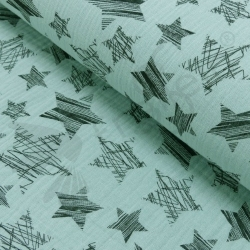 Double Gauze - Scribble Stars - Mint