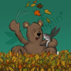 Cotton Jersey - Autumn Bear