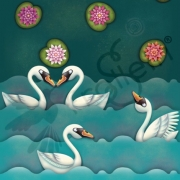 Finch Fabrics - Cotton Jersey - Swan Lake