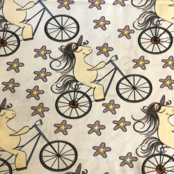 Cotton Jersey -  Unicorn riding bike