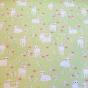 Cotton Jersey - Little Lambs - Green