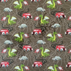 Cotton Jersey - Firetruck and Dragon-Brown