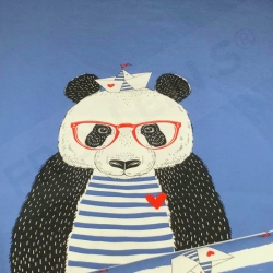 Cotton Jersey - Panda Sailor - Jeans Blue