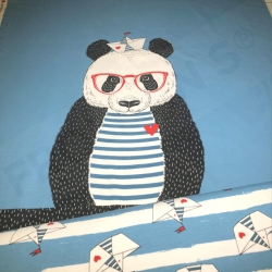 Cotton Jersey - Panda Sailor - Light Blue