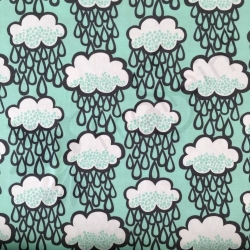Organic Cotton Jersey - Rainclouds - Mint