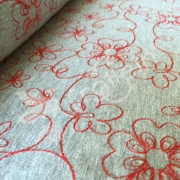Cotton Jersey Blend - Embroidery Flowers-Red