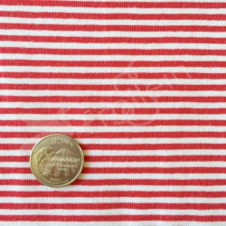 Cotton Jersey - Stripes small - Red/White