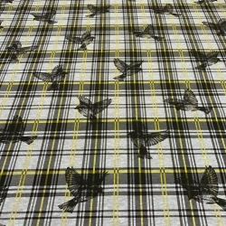 French Terry brushed - Plaid Sparrows-Yellow