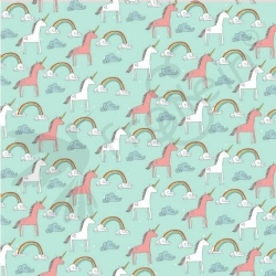 Organic Cotton Jersey -  Unicorns - Mint