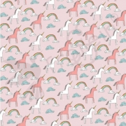 Organic Cotton Jersey -  Unicorns - Pink