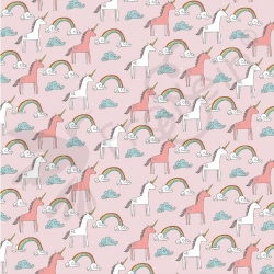 Fat Half-Organic Cotton Jersey-Unicorns-Pink