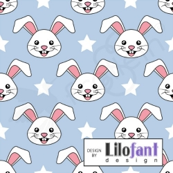 Organic Cotton Jersey -  Bunny-Blue