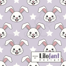 Organic Cotton Jersey -  Bunny-Lavender