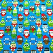 Organic Cotton Jersey -  Christmas Owls-Blue