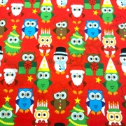 Organic Cotton Jersey -  Christmas Owls-Red