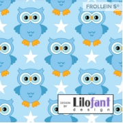 Organic Cotton Jersey - Owls - Blue