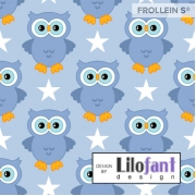 Organic Cotton Jersey - Owls-Dusty Blue