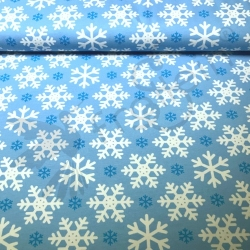 Organic Cotton Jersey -  Snowflakes-Blue