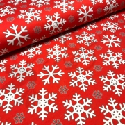Organic Cotton Jersey -  Snowflakes-Red