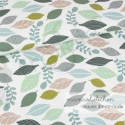 Cotton Jersey - In the Forest - Leaves-Mint-Nude