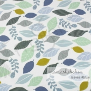 Cotton Jersey - In the Forest - Leaves-Blue