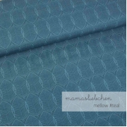 Cotton Jersey - Mellow Leaves-Teal