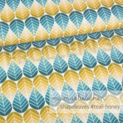 Cotton Jersey - Shapeleaves-Teal/Honey