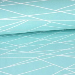 French Terry - Shapelines - Aqua/White
