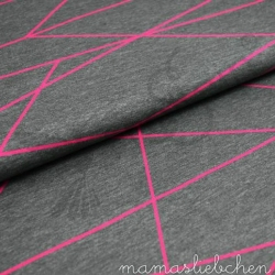 Cotton Jersey - Shapelines-Gray-Pink