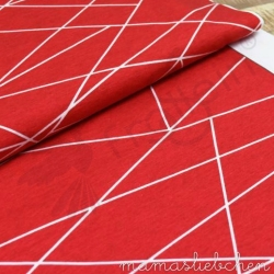 Cotton Jersey - Shapelines - Red