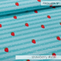 Cotton Jersey - Strawberry Stripes-Teal