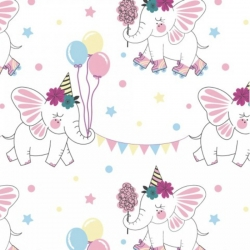 Cotton Jersey - Color Changing - Elephant Party