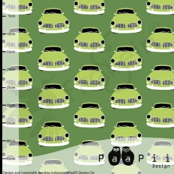 Organic Cotton Jersey - Vintage Cars-Green