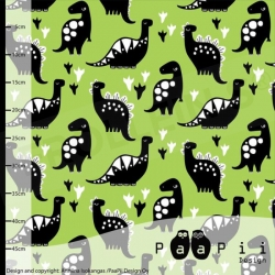Fat Half -Organic Cotton Jersey - Dinos -Kiwi Green