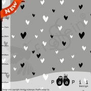 Organic Cotton Jersey - PaaPii - Hearts-Gray