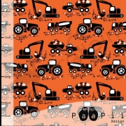 Organic Cotton Jersey - Machines-Orange