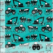 Organic Cotton Jersey - Machines-Teal