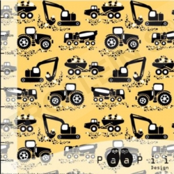 Organic Cotton Jersey - Machines-Yellow