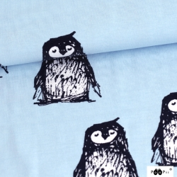 Organic Cotton Jersey - Penguins-Light Blue
