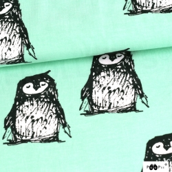 Organic Cotton Jersey - Penguins-Mint