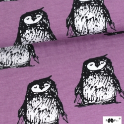 Organic Cotton Jersey - Penguins-Purple