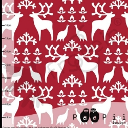 Organic Sweatshirt Knit - Reindeer - Red