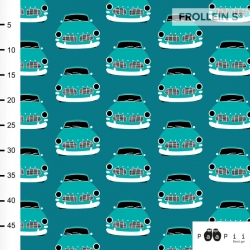 Organic Cotton Jersey - Vintage Cars-Teal