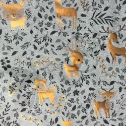 French Terry Knit - Bronze Foil Deer