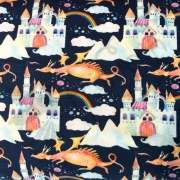 Cotton Jersey - Fairy Tale Dragons-Blue