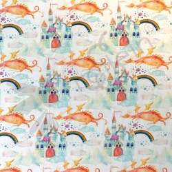 Cotton Jersey - Fairy Tale Dragons-White