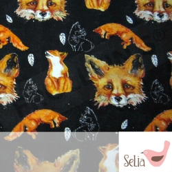 Organic Cotton Jersey - Foxes - Black